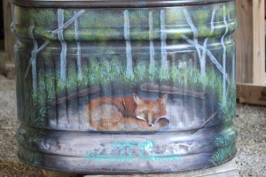 horse trough with fox painting