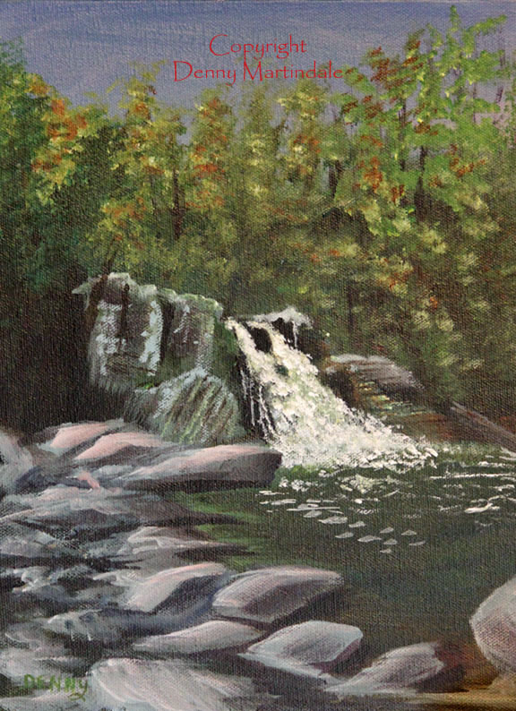 Abrams Falls, Cades Cove, Smoky Mountains, Tennessee art, plein air painting, acrylic painting