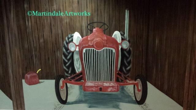 farm tractor, Ford 8N, latex house paint, mural-Denny Martindale